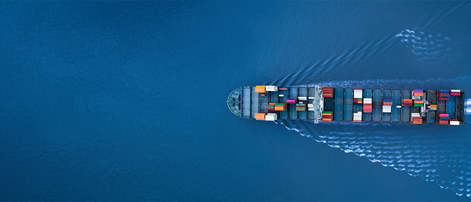 A cargo ship on the ride; image used for HSBC Fusion cross border ecommerce package solution page.